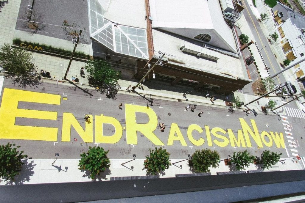 End Racism Now mural in Raleigh