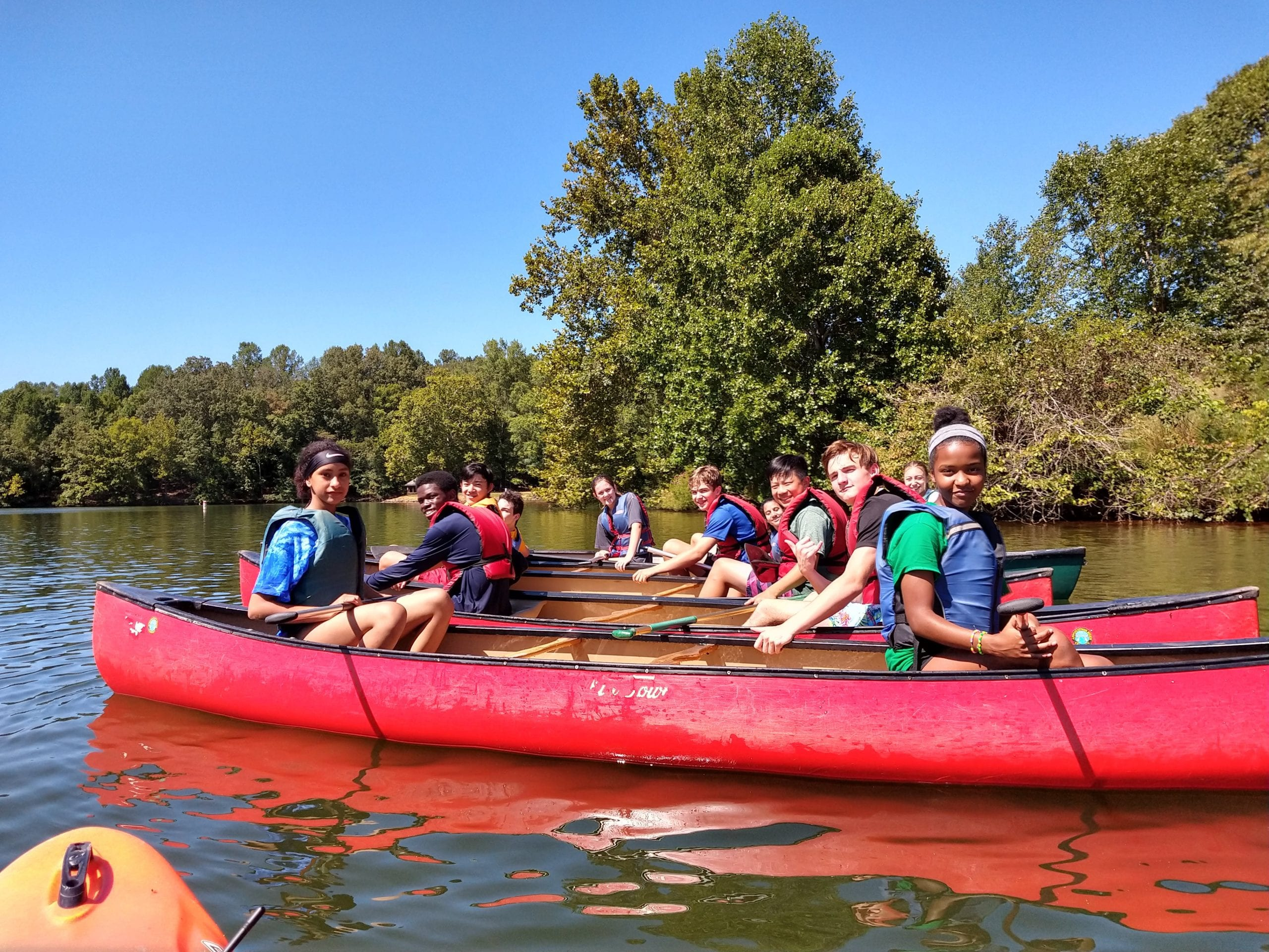 9th grade at Camp Skelton in canoes