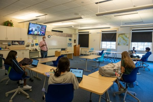 Bill Velto teaches history in the 'Zoom room'